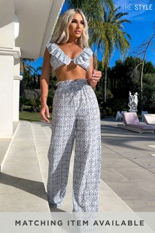 In The Style Billie Faiers Tile Print Paperbag Trousers