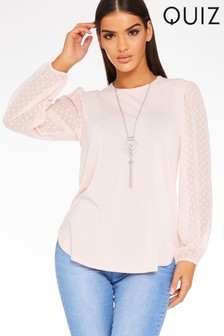 Quiz Polka Dot Sleeves Necklace Top
