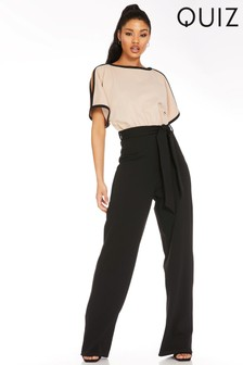 Quiz Batwing Sleeve Belted Jumpsuit