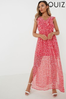 Quiz Disty Floral Print Maxi Dress