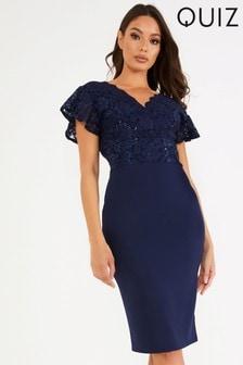 Quiz Lace Short Sleeves Midi Dress