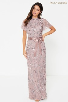 Maya High Neck Maxi Dress With All Over Embellishment And Open Back