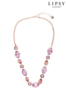 Lipsy Rose Gold Plated Multi Stone Necklace