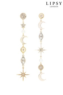 Lipsy Jewellery Celestial Miss Match Drop Earrings