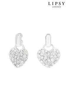 Lipsy Silver Plated Crystal Heart Doorknocker Stud Earrings
