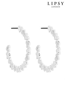 Lipsy Silver Plated Polished And Pave Heart Hoop Earrings