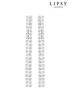 Posrebrzane długie kolczyki Lipsy z kryształkami