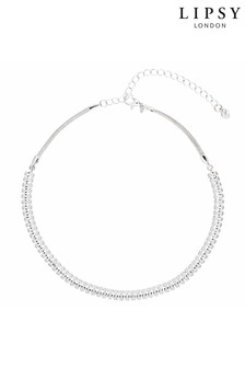 Lipsy Silver Plated Crystal Baguette Choker