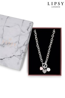 Lipsy Silver Plated Tri Tone Charmed T-Bar Necklace