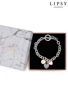Lipsy Silver Plated Tri Tone Charmed T-Bar Bracelet