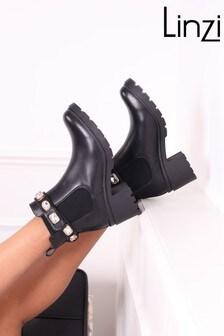 Linzi Rae Detachable Trim Block Heel Ankle Boot