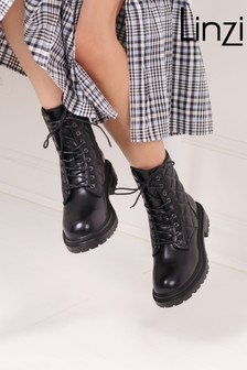 Linzi Quilted Lace Up Military Boot
