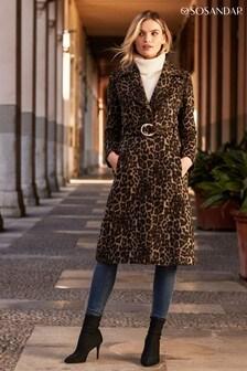 Sosandar Leopard Print Belted Wool Mix Coat