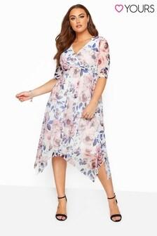 Yours Curve Floral Wrap Mesh Dress