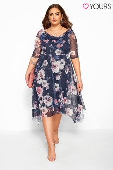 Yours Curve Floral Cowl Mesh Dress