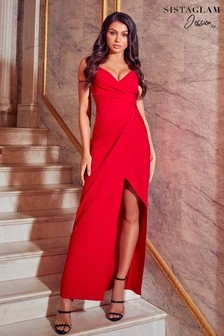 Sistaglam Loves Jessica Cami Knot Front Maxi Dress