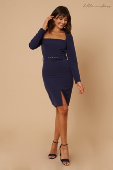 Little Mistress Joey Square Neck Belted Bodycon Dress