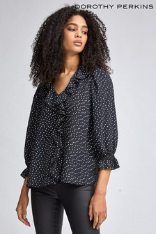 Dorothy Perkins Spot Ruffle Shirt