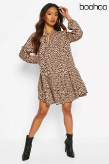 Boohoo Leopard Tie Detail Smock Dress