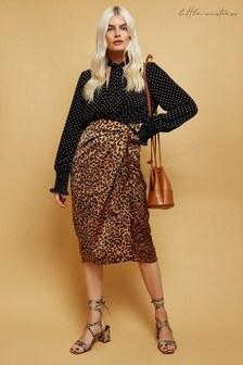Little Mistress Ravi Leopard Print Satin Wrap Midi Skirt