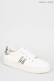 New Look White Leather-Look Faux Snake Trim Trainers
