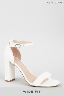 New Look Wide Fit Leather-Look Two-Part Block Heels