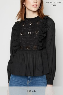 New Look Tall Cutwork Frill Blouse