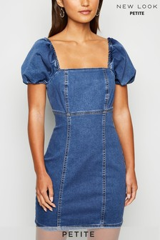 New Look Petite Puff Sleeve Denim Dress