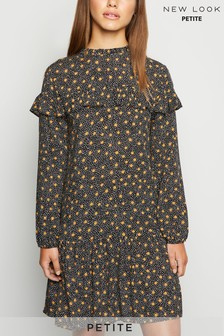 New Look Petite Netty Print Frill Smock Dress