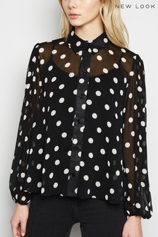New Look Spot Chiffon Blouson Shirt