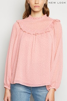 New Look Spot Frill Long Sleeve Blouse