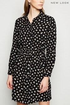 New Look Spot Print Nelly Long Sleeve Dstring Dress