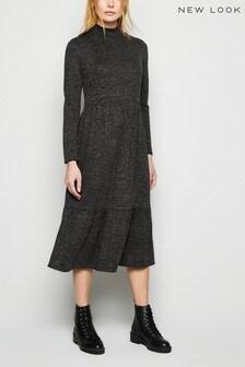 New Look High Neckline Empire Midi Smock Dress