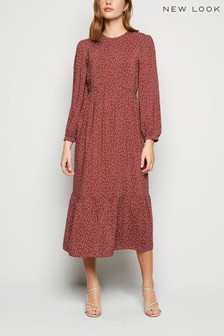 New Look Lorna Spot Long Sleeves Tier Smock Dress