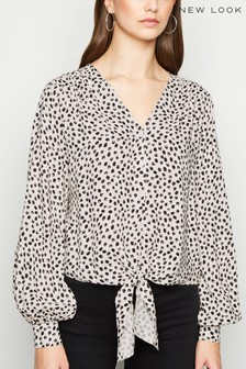 New Look Tie Front Lilly Spot Shirt