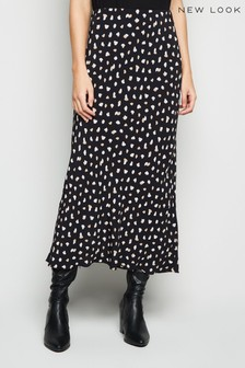 New Look Nelly Spot Bias Midi Skirt