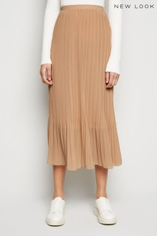 New Look Micro Chiffon Pleat Midi Skirt