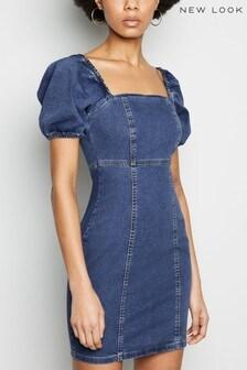 New Look Denim Puff Sleeve Dress