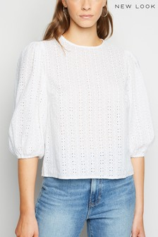 New Look Andy Cutwork 3/4 Puff Sleeve Top