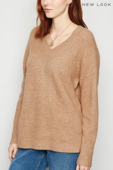 New Look V neckline Rib Long Sleeve Jumper