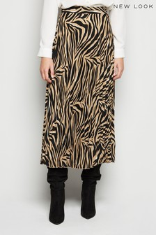 New Look Fifi Tiger Pleated Midi Skirt