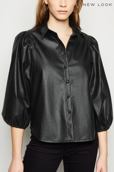 New Look Blouson Sleeve PU Shirt
