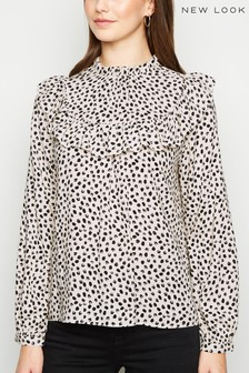 New Look Lilly Spot Frill Yoke Long Sleeve Shirt