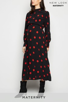 New Look Maternity Large Spot Long Sleeve Dress