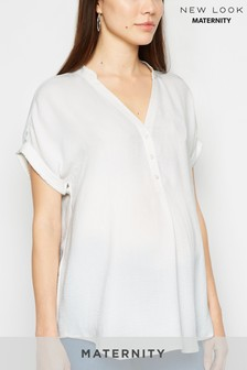 New Look Maternity Overhead Button Short Sleeve Shirt
