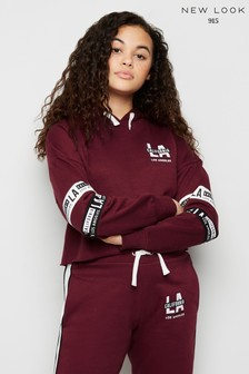 New Look Girls Graphic Stripe Sleeve Hoody