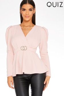 Quiz Puffed Sleeve Belted Top
