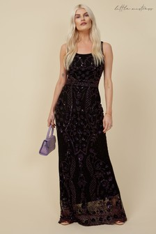 Little Mistress Maryam Black Embellished Sheath Maxi Dress