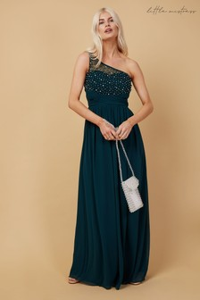 Little Mistress Bridesmaid Luanna Emerald Green Embellished One-Shoulder Maxi Dress