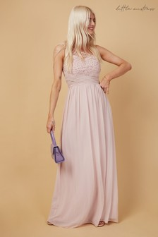 Little Mistress Bridesmaid Luanna Blush Embellishment One-Shoulder Maxi Dress